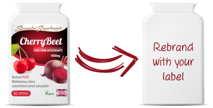 Own label cherry and beetroot capsules