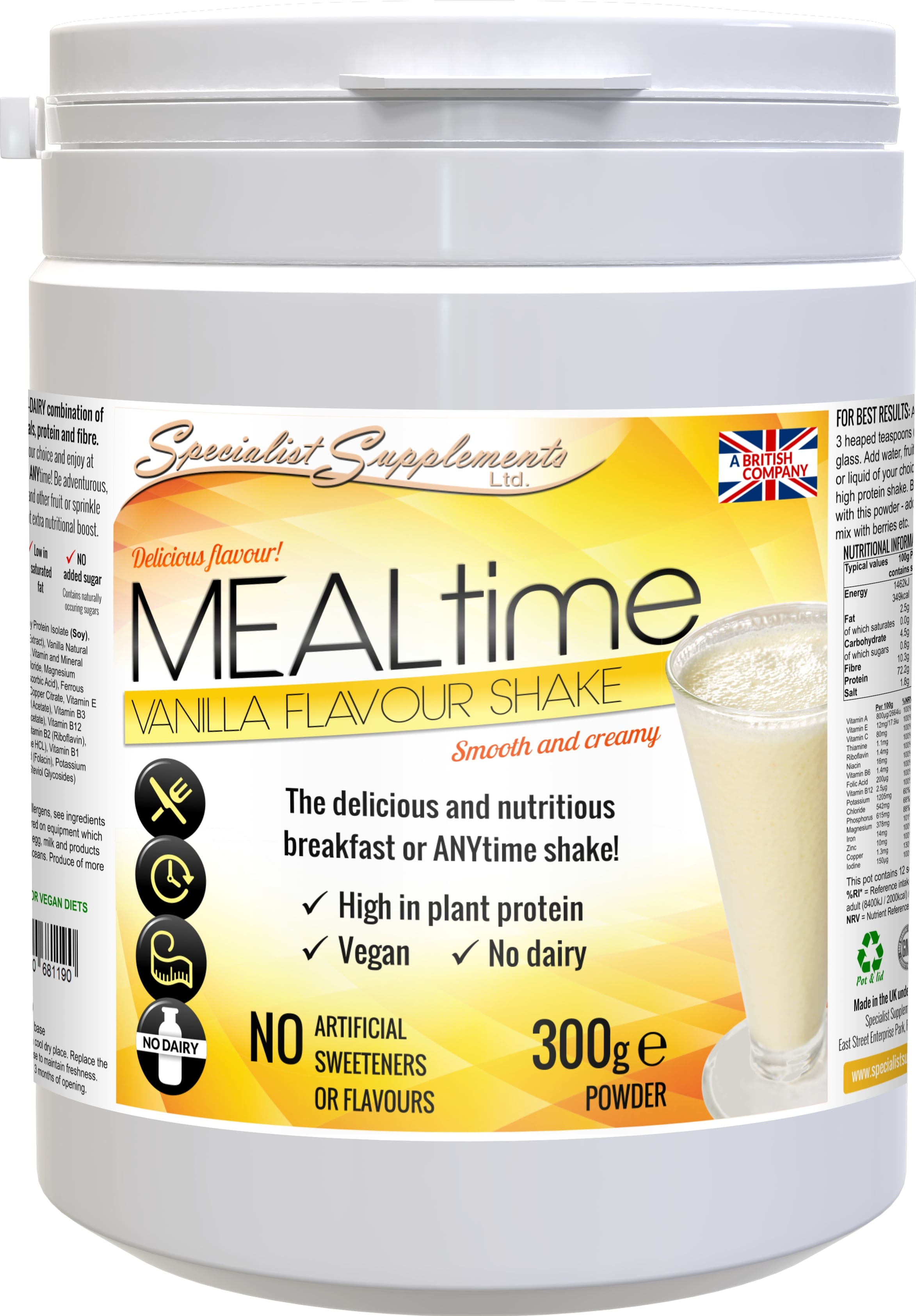 Kosher certified MEALtime Vanilla - non-GM soya protein powder and meal replacement shake